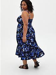 Blue Floral Challis Tiered Tea Length Dress , FLORAL - BLUE, alternate
