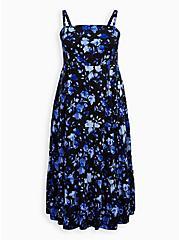 Blue Floral Challis Tiered Tea Length Dress , FLORAL - BLUE, hi-res