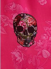Pink Skull Chiffon Maxi Dress , SKULLS - PINK, alternate