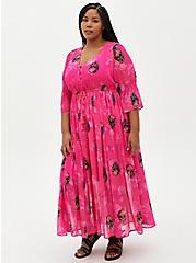 Pink Skull Chiffon Maxi Dress , SKULLS - PINK, hi-res