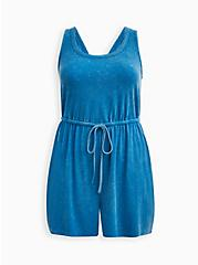Blue Wash Scoop Neck Romper, TIE DYE-BLUE, hi-res