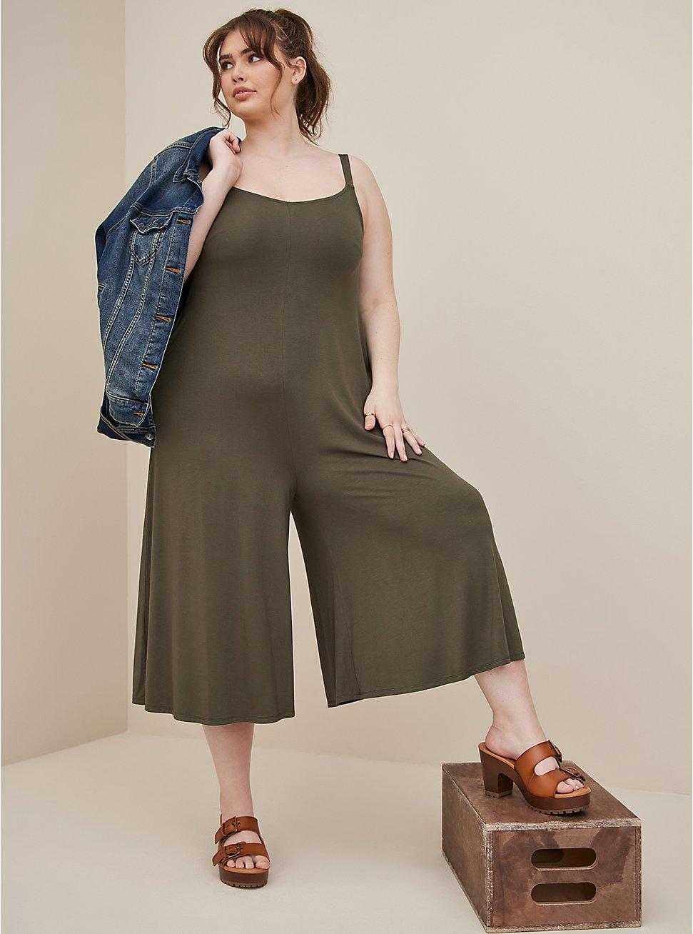 Olive Super Soft Culotte Jumpsuit , DEEP DEPTHS TIE DYE, hi-res