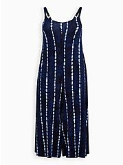 Blue Stripe Tie-Dye Super Soft Culotte Jumpsuit , TIE DYE STRIPE, hi-res