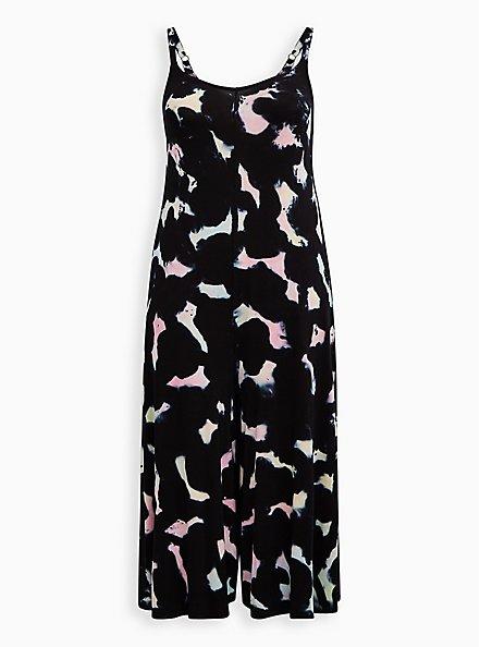 Black Tie-Dye Super Soft Culotte Jumpsuit , TIE DYE-BLACK, hi-res