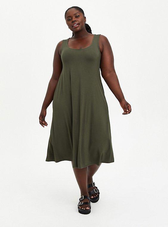 Olive Super Soft Midi Dress, DEEP DEPTHS, hi-res