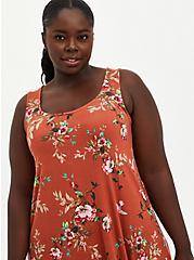 Plus Size Orange Floral Super Soft Midi Dress , FLORALS-ORANGE, alternate