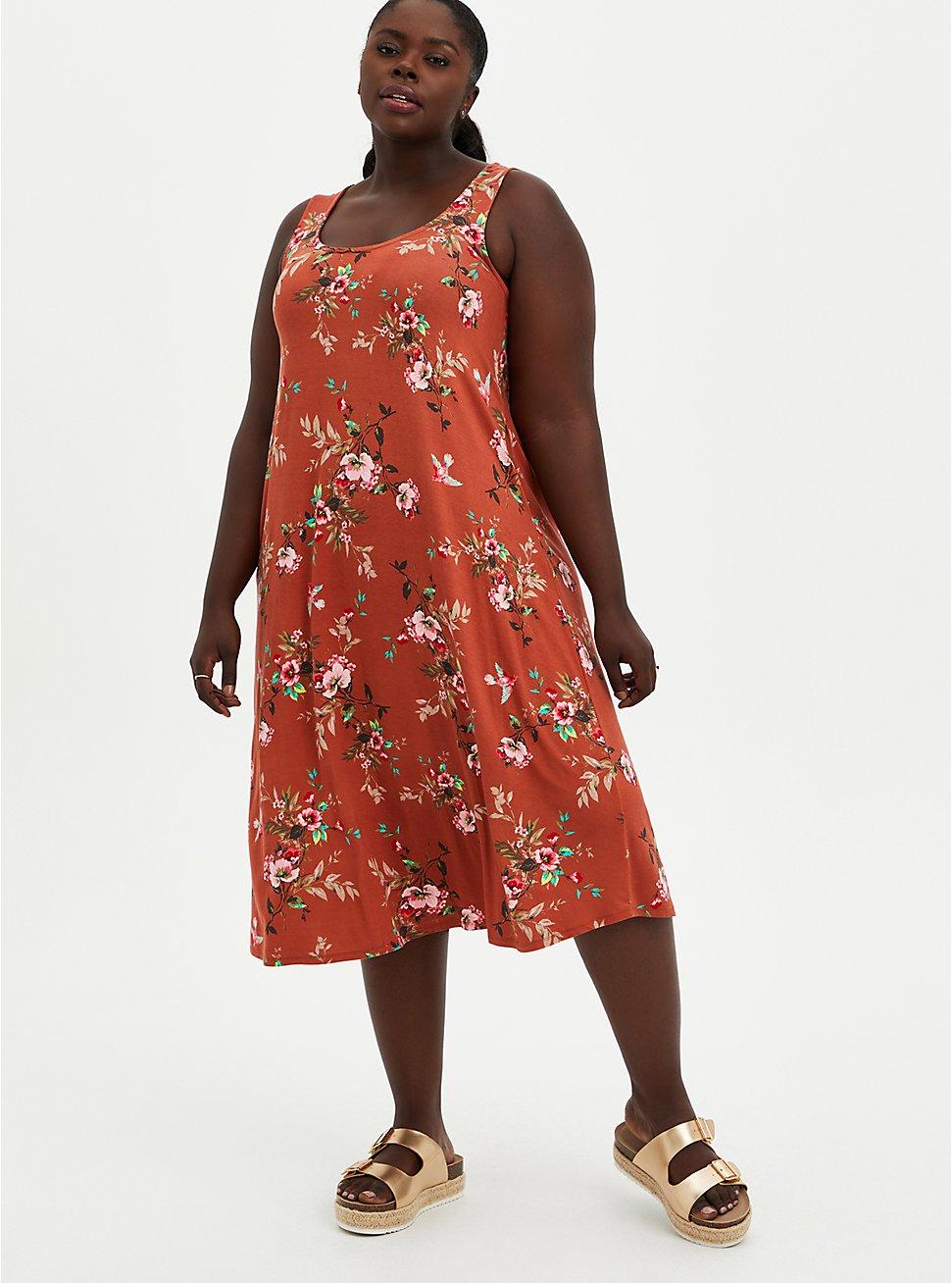 Plus Size Orange Floral Super Soft Midi Dress , FLORALS-ORANGE, hi-res