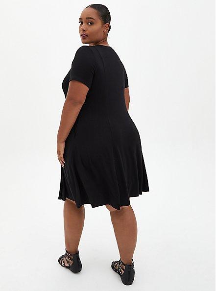 Black Super Soft Mini Dress , DEEP BLACK, alternate