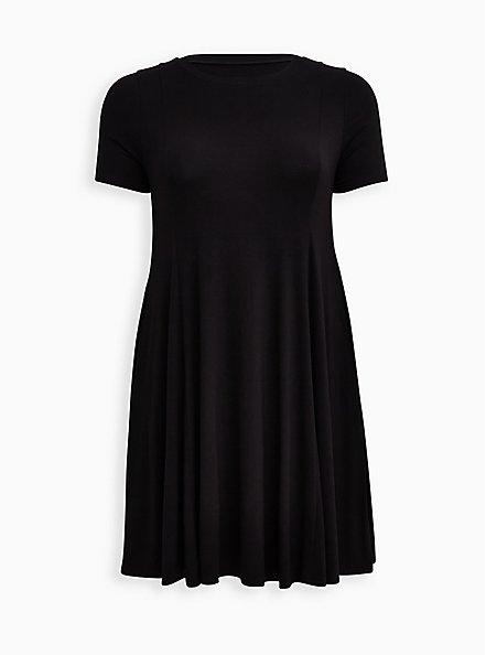 Black Super Soft Mini Dress , DEEP BLACK, hi-res