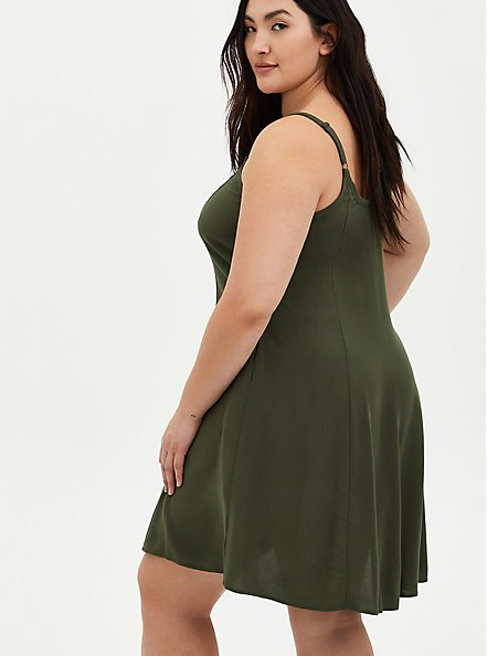 Plus Size Olive Challis Trapeze Dress, DEEP DEPTHS, alternate
