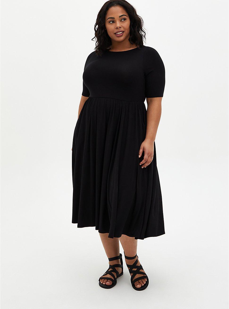 Black Super Soft Boat Neck Midi Dress , DEEP BLACK, hi-res
