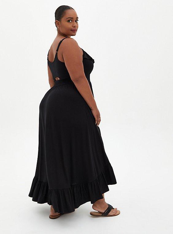 Black Super Soft Ruffle Hi-Lo Maxi Dress , DEEP BLACK, hi-res