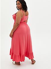 Coral Super Soft Ruffle Hi-Lo Maxi Dress , CORAL, alternate