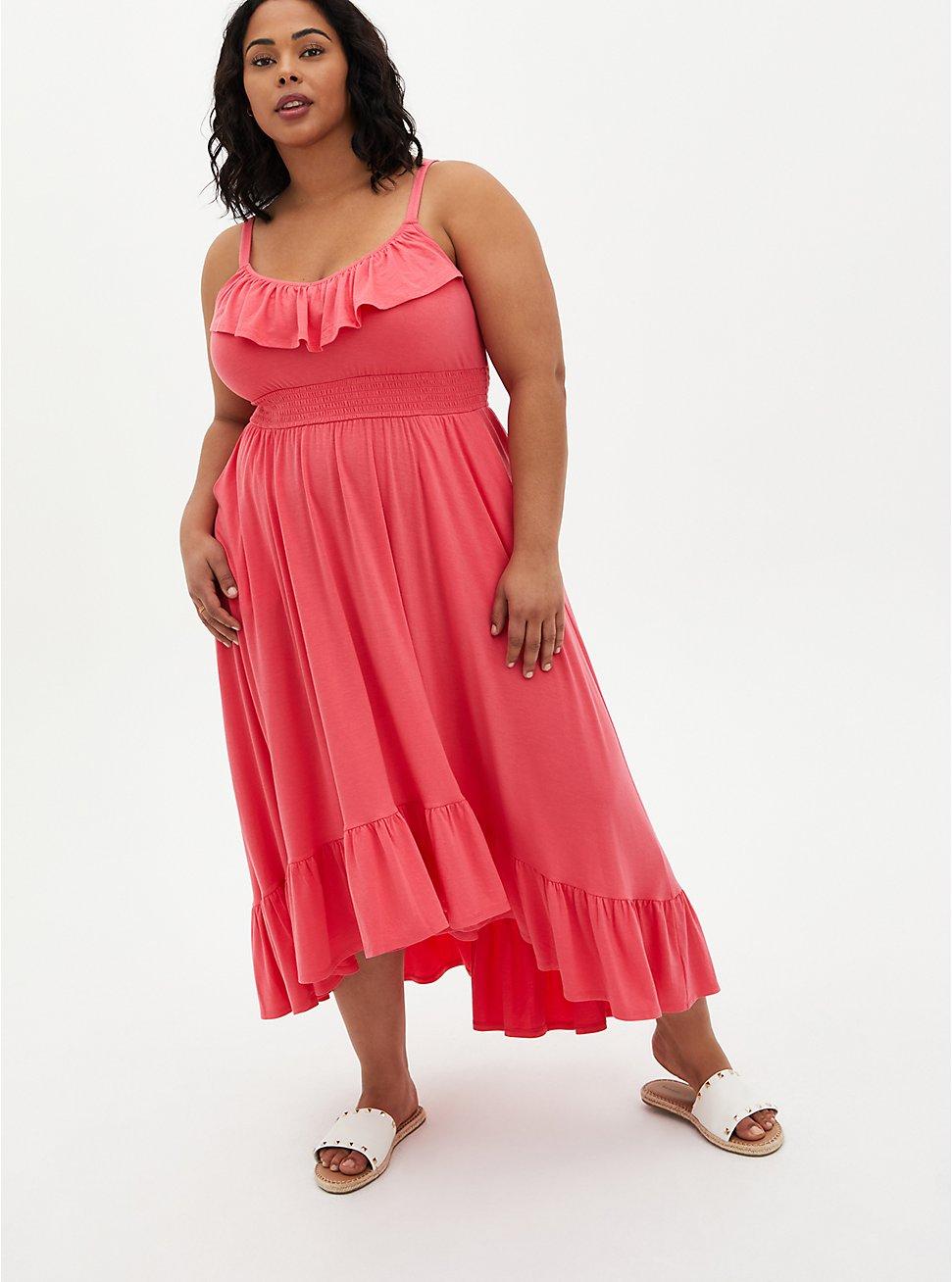 Coral Super Soft Ruffle Hi-Lo Maxi Dress , CORAL, hi-res