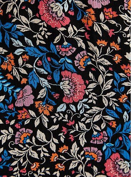 Walk-Through Romper Midi Dress - Crinkle Gauze Floral Black, FLORAL - BLACK, alternate