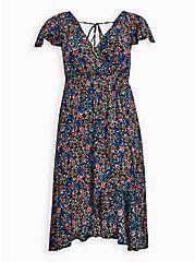 Walk-Through Romper Midi Dress - Crinkle Gauze Floral Black, FLORAL - BLACK, hi-res