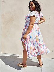 Walk-Through Romper Midi Dress - Crinkle Gauze Ikat White, IKAT - COLORED, alternate