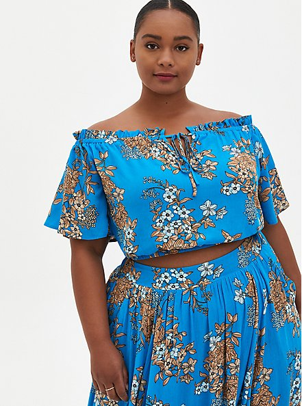 Blue Floral Gauze Off Shoulder Maxi Skirt Set , FLORAL - BLUE, alternate