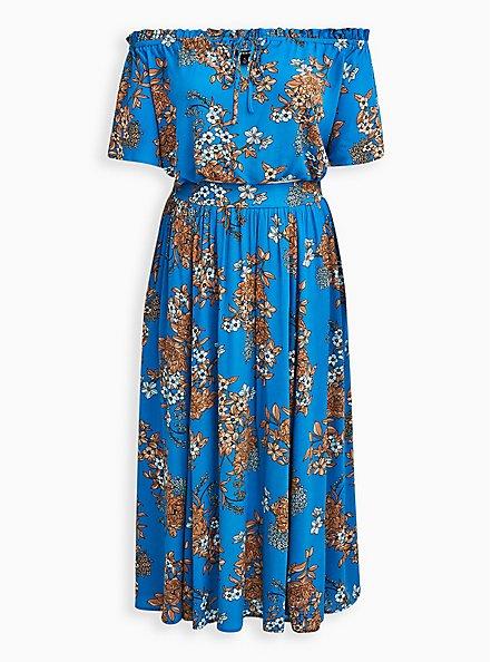 Blue Floral Gauze Off Shoulder Maxi Skirt Set , FLORAL - BLUE, hi-res