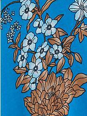 Plus Size Blue Floral Cold Shoulder Gauze Handkerchief Skater Dress, FLORAL - BLUE, alternate