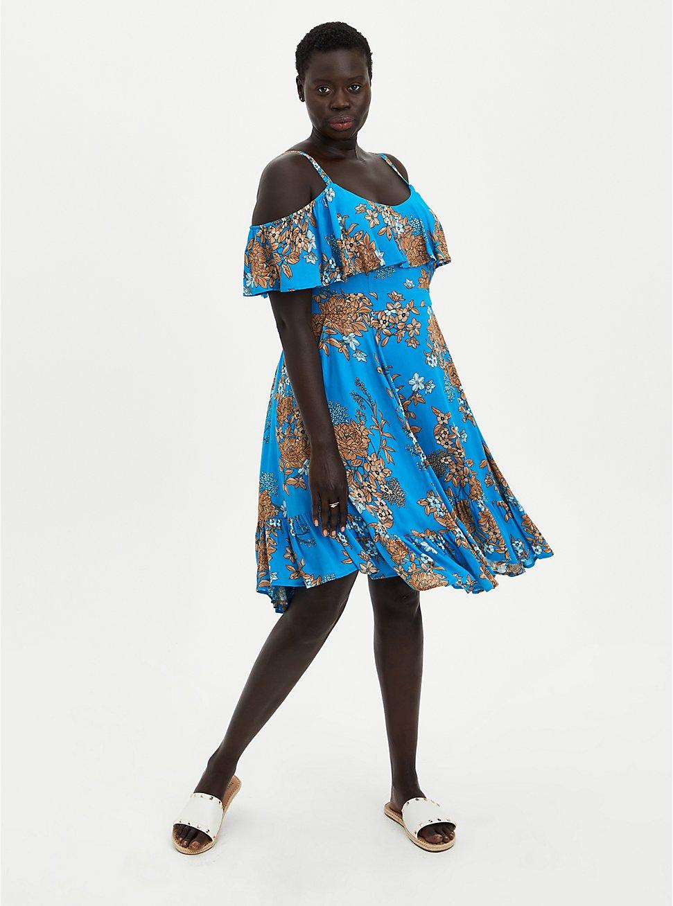Plus Size Blue Floral Cold Shoulder Gauze Handkerchief Skater Dress, FLORAL - BLUE, hi-res