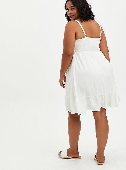 Plus Size White Textured Stretch Rayon Smocked Skater Dress, CLOUD DANCER, alternate