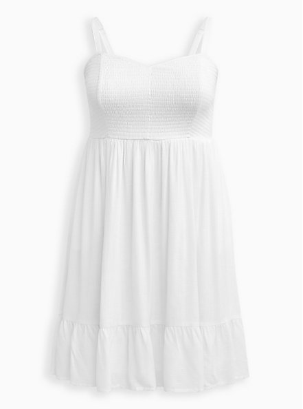 Plus Size White Textured Stretch Rayon Smocked Skater Dress, CLOUD DANCER, hi-res