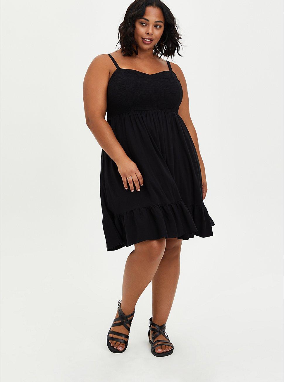 Black Textured Stretch Rayon Smocked Skater Dress, DEEP BLACK, hi-res