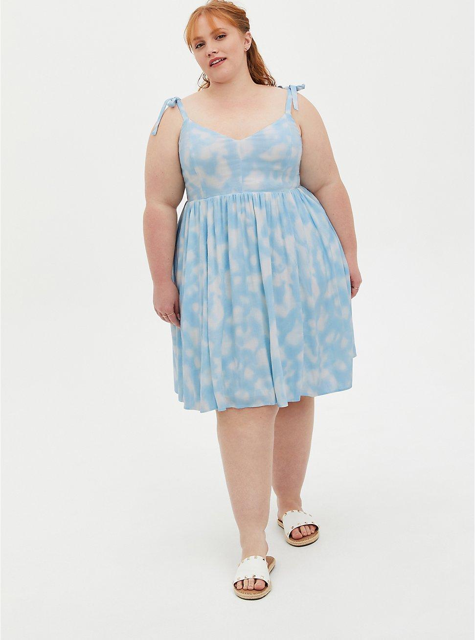 Blue Tie-Dye Tie Strap Skater Dress, TIE DYE-BLUE, hi-res
