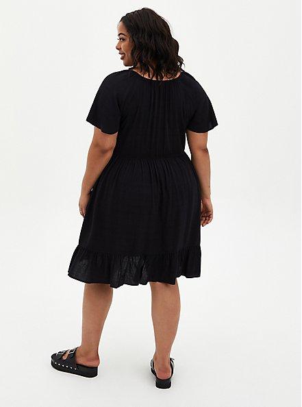 Black Crosshatch Tiered Babydoll Dress, DEEP BLACK, alternate