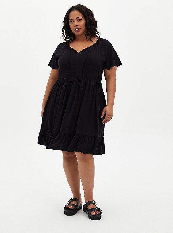 Black Crosshatch Tiered Babydoll Dress, DEEP BLACK, hi-res