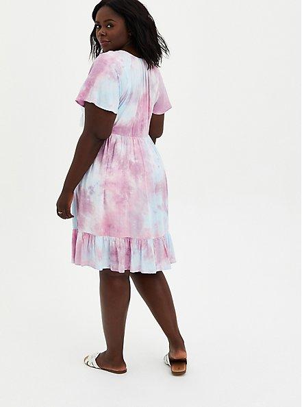 Multi Tie-Dye Crosshatch Tiered Babydoll Dress, TIE DYE, alternate