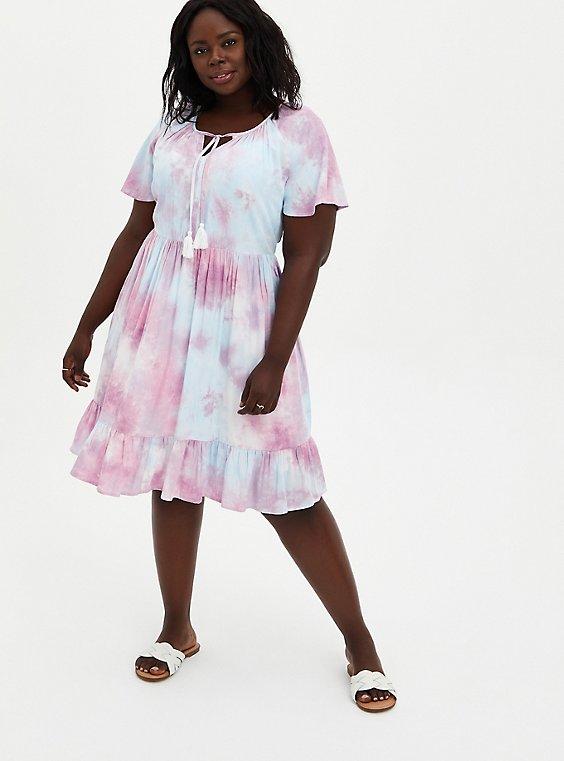 Multi Tie-Dye Crosshatch Tiered Babydoll Dress, TIE DYE, hi-res