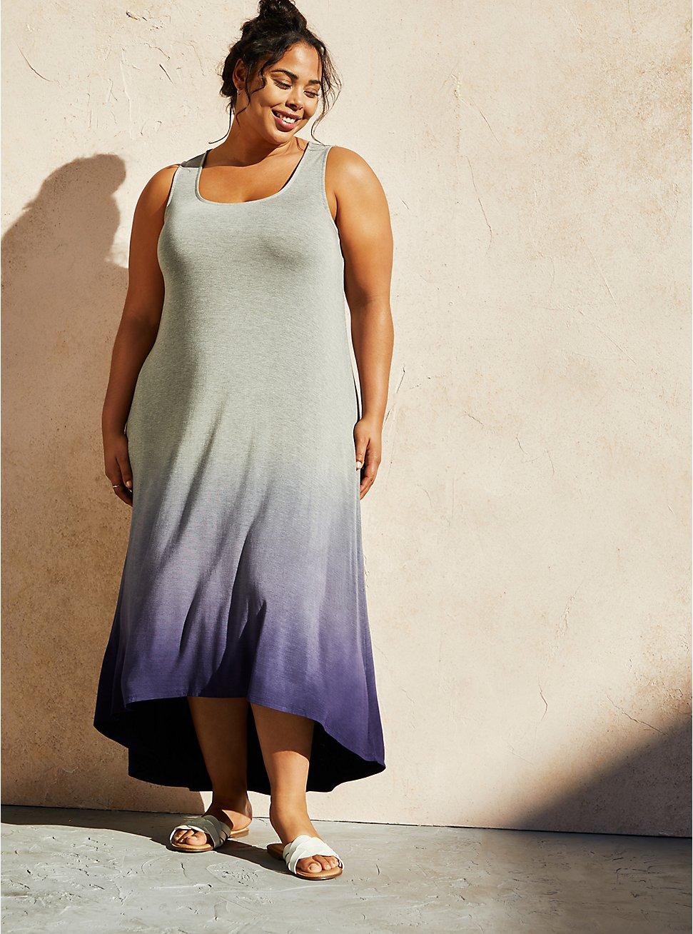 Grey & Navy Super Soft Hi-Low Maxi Dress, GREY NAVY, hi-res