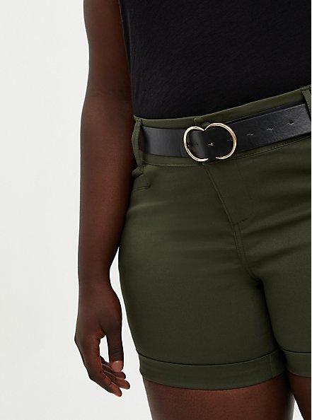 Olive Belted Sateen Short, DEEP DEPTHS, alternate