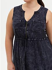 Black Wash Stretch Challis Zip Front Shirtdress, BLACK TIE DYE, alternate