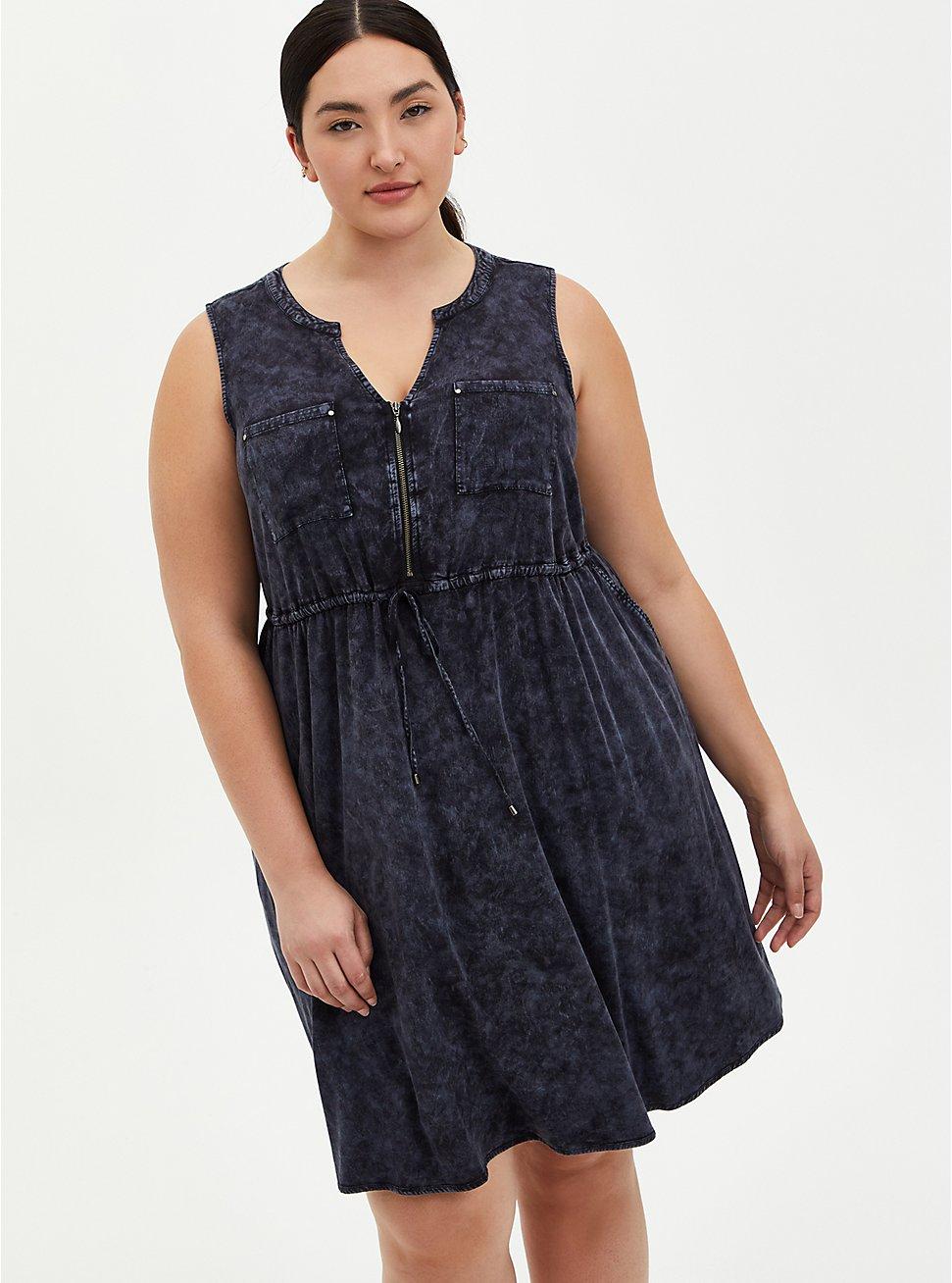 Black Wash Stretch Challis Zip Front Shirtdress, BLACK TIE DYE, hi-res