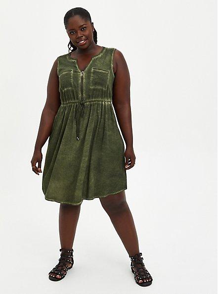 Olive Wash Stretch Challis Zip Front Shirtdress, DEEP DEPTHS TIE DYE, alternate
