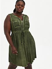 Olive Wash Stretch Challis Zip Front Shirtdress, DEEP DEPTHS TIE DYE, hi-res