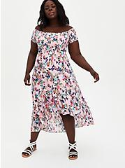 Pink Floral Off Shoulder Gauze Hi-Lo Maxi Dress , FLORAL - PINK, hi-res