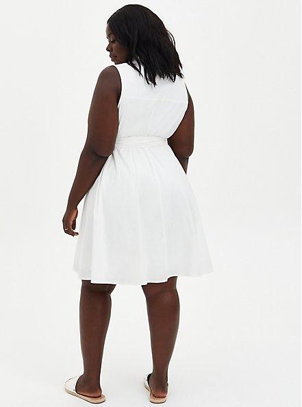 White Poplin Collared Shirtdress , CLOUD DANCER, alternate