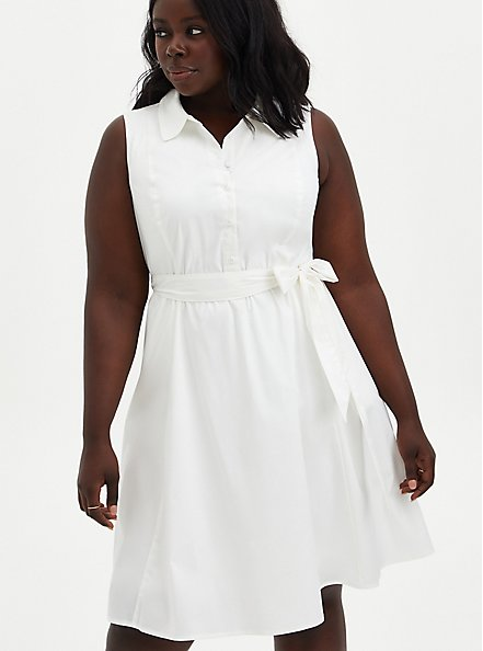White Poplin Collared Shirtdress , CLOUD DANCER, hi-res