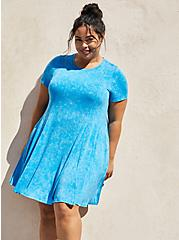 Super Soft Blue Wash Mini Dress, TIE DYE-BLUE, alternate