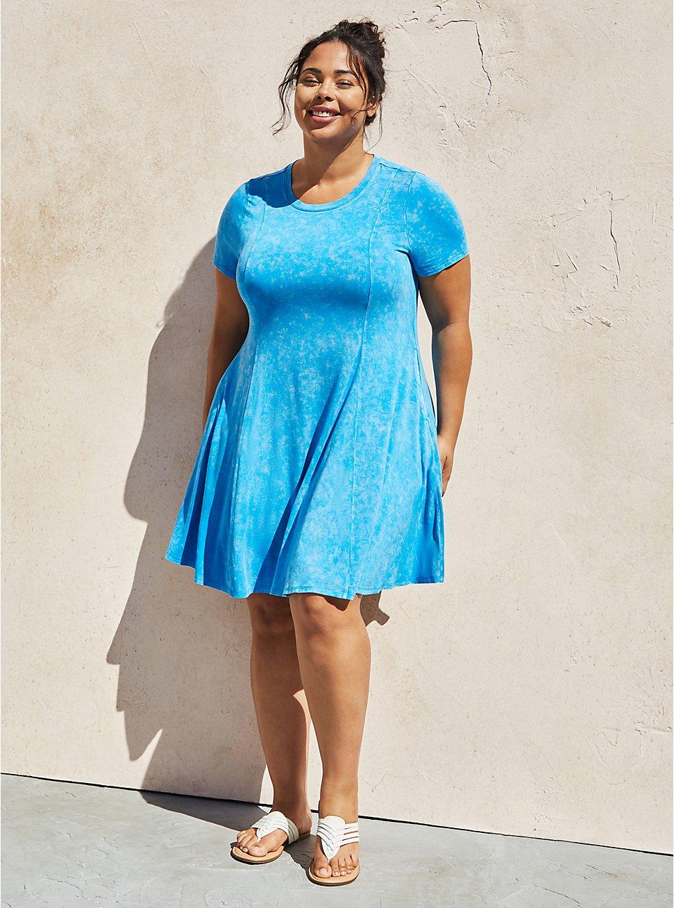Super Soft Blue Wash Mini Dress, TIE DYE-BLUE, hi-res