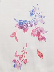 White Floral Poplin Tiered Hi-Lo Peplum Tunic, FLORAL - BLUE, alternate