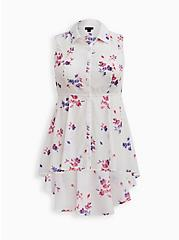 White Floral Poplin Tiered Hi-Lo Peplum Tunic, FLORAL - BLUE, hi-res