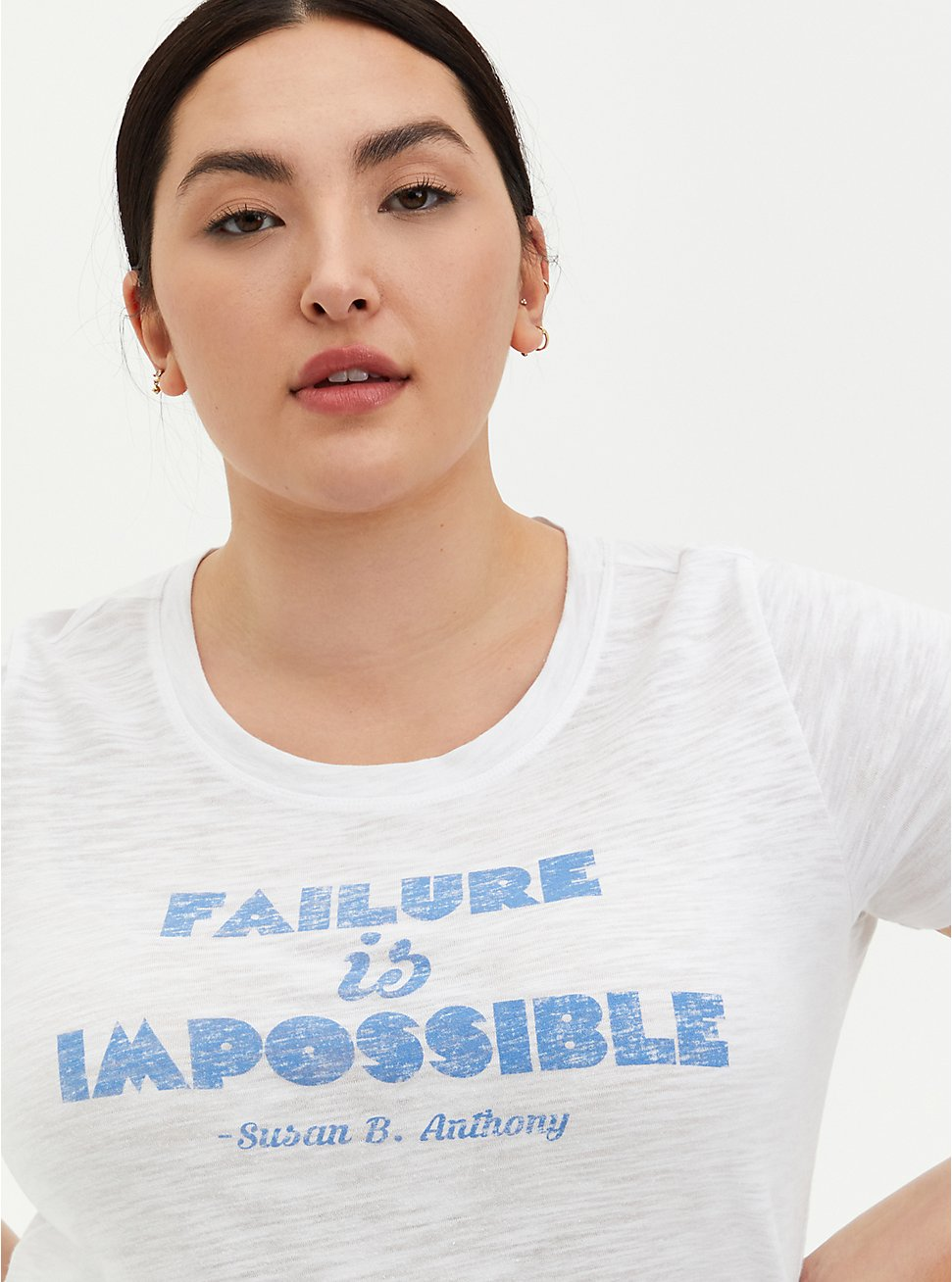 #TorridStrong Slim Fit Crew Tee - Failure Is Impossible White , BRIGHT WHITE, hi-res