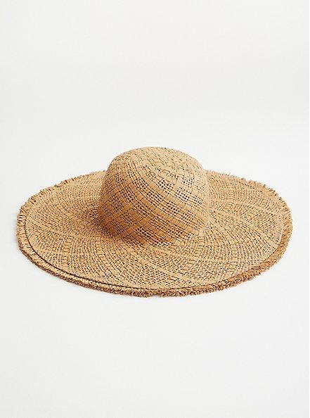 Natural Frayed Edge Floppy Hat, BEIGE, alternate