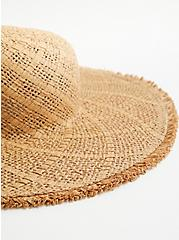 Natural Frayed Edge Floppy Hat, BEIGE, alternate