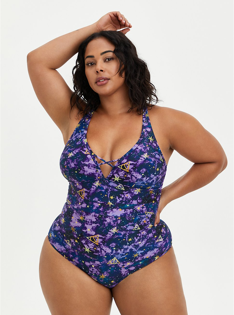 Plus Size Harry Potter Galaxy Swimsuit, , fitModel1-hires